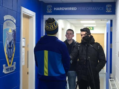 Sports Journalism students interview Warrington Wolves players at The Halliwell Jones Stadium