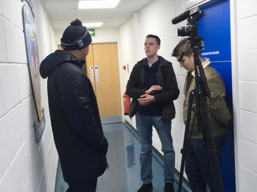 Sports Journalism students interview Warrington Wolves manager Steve Price at The Halliwell Jones Stadium