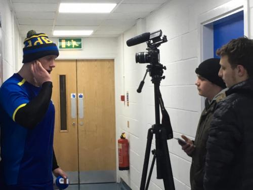 Sports Journalism students interview Wolves captain Chris Hill at The Halliwell Jones Stadium